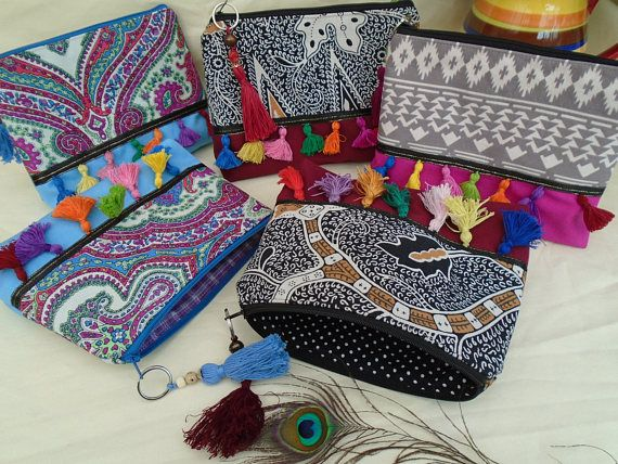 Handmade Cosmetic Makeup Bag Washbag Boho Hippy Festival