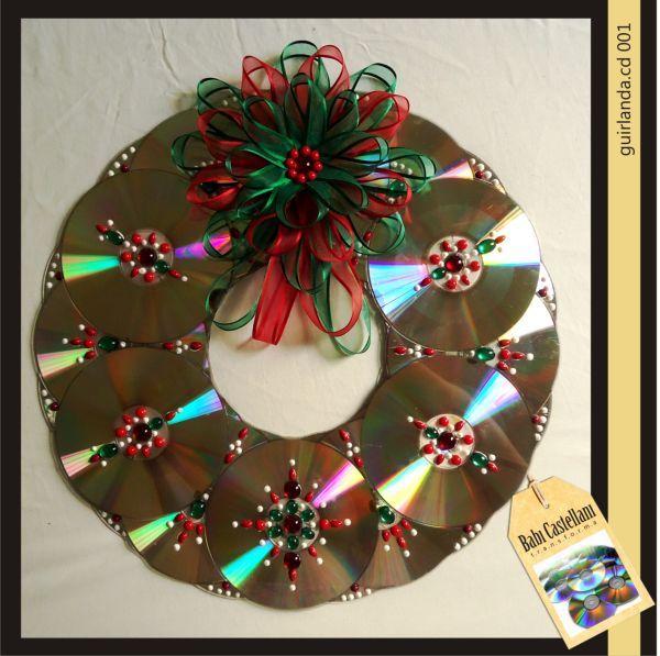Confira algumas ideias para decoração de Natal com reciclagem de CD para fazer…