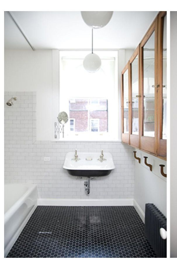 Black Hex Tile Floor White Walls Industrial Wood Framed Mirror For The Kid 39 S Bathroom Wet