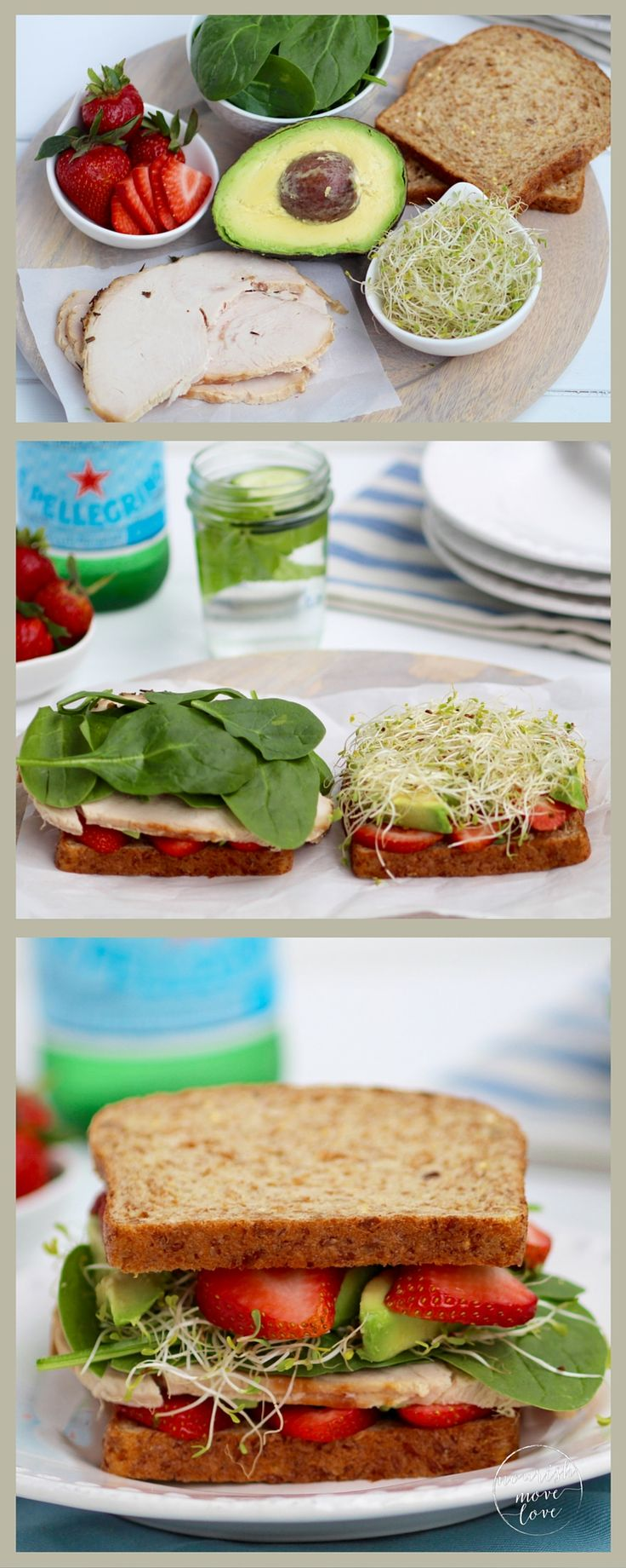 two healthy lunch recipes that can be tossed together in 15 minutes or less; both the strawberry spinach sandwich and salad can feed a small crowd or pack up nicely for lunches and picnics!