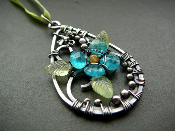 Love of Spring pendant - wire wrapped sterling silver prehnite, apatite…