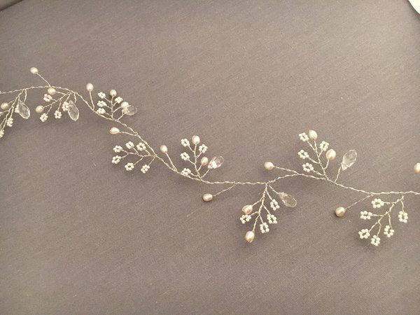 Bridal Hair Vine with Swarovski Crystals and Pearls