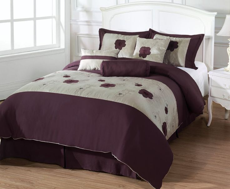 amazoncom leila king size 7 piece comforter set applique embroidery purple flower full size