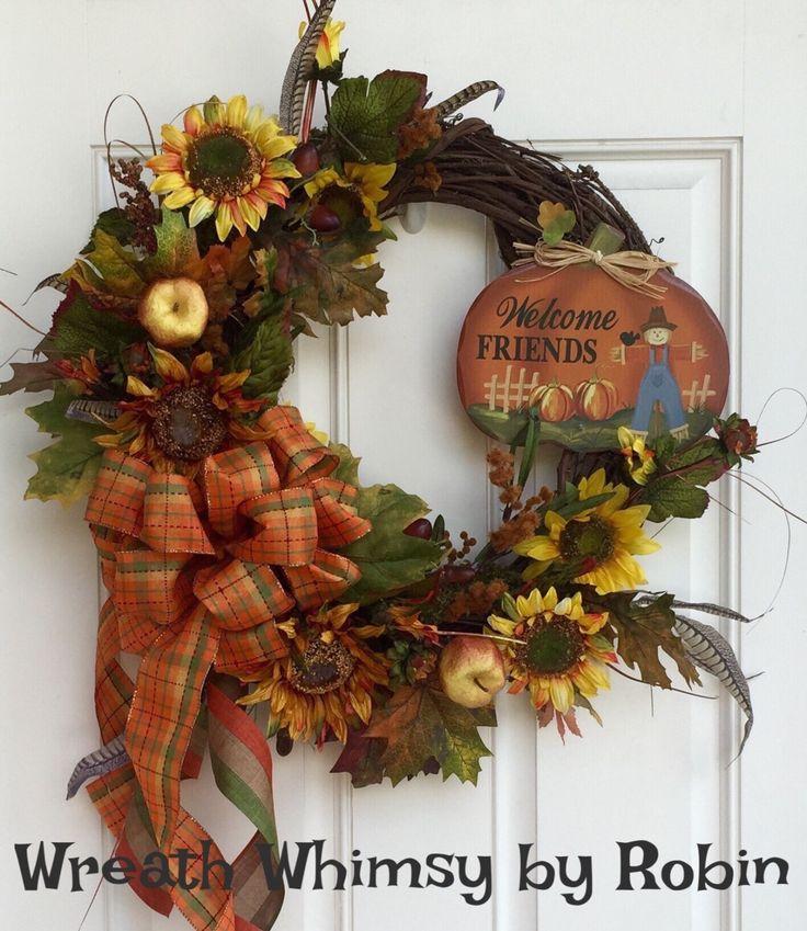 Fall Silk Floral Grapevine Wreath Fall Decor
