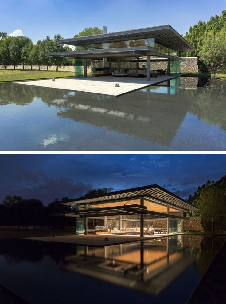 This modern pavilion, used by visiting guests and for events, has a large water feature that reflects the architecture and almost surrounds it at the same time.