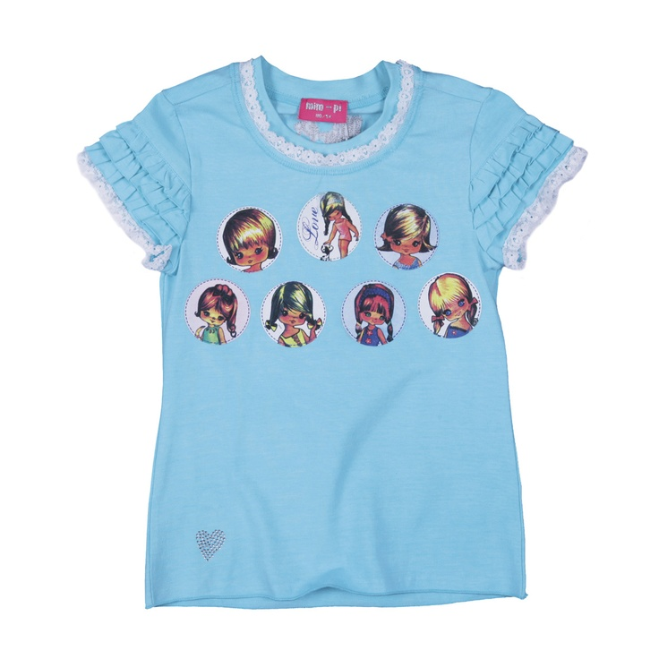 Doll badges on Mim-Pi aqua blue shirt... and look at those frilly sleeves! cutie...  #kidsclothes #kidsfashion #girlsfashion  #mimpi #babyclothes #tshirt