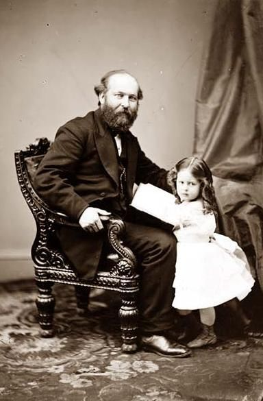 President James A. Garfield and daughter. Garfield's presidency lasted just 200 days until he was killed by assassin Charles J. Guiteau on July 2, 1881.