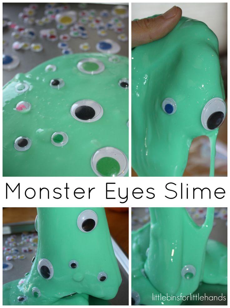 easy slime halloween sensory play monster eyes