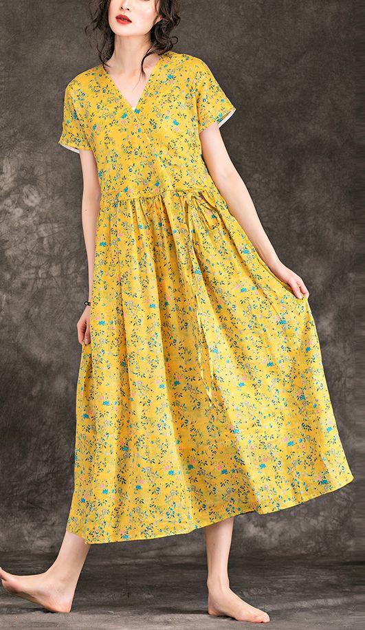 caf70616a980 Women yellow floral linen dress top quality design v neck tie waist cotton  Summer Dress#yellowfloraldress#linendress#vneckdress