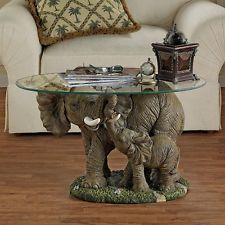 Elephants Majesty Glass Top Coffee Table Home Office Unique Hand Painted New