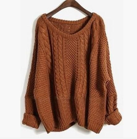 2017 New Women Plain Round Neck Split Pullover Sweater