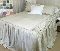 Linen Bedspread, Ruffled Bed Cover - natural linen