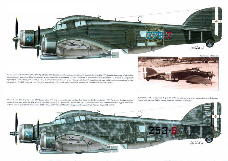 airplane profile pictures | Savoia-Marchetti SM 79 Sparviero – Torpedo Bomber Profiles