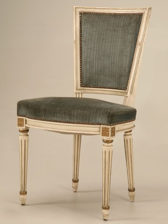 Dynamite Set Of 4 Antique French Louis XVI Painted Chairs W Gilt Modern Dining Room