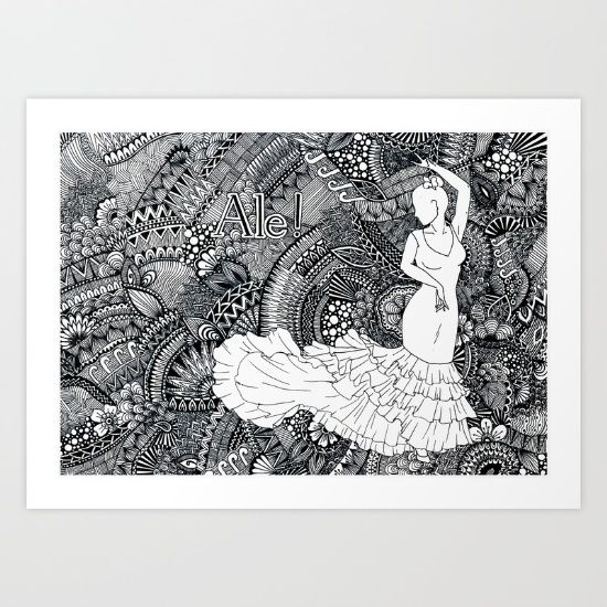 Collect your choice of gallery quality Giclée, or fine art prints custom trimmed by hand in a variety of sizes with a white border for framing. SHOP IT HERE: https://society6.com/product/spanish-dancer-w1c_print?curator=wellglow