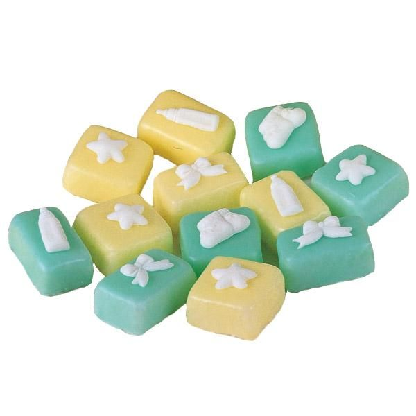 Precious Petit Fours - These adorable mini cakes go together in a baker's minute. Cover 2 in. x 2 in. squares cut from a Sheet Pan cake with tinted Quick Pour Fondant Icing. Add white fondant figures shaped in our Baby Accents Fondant Mold.