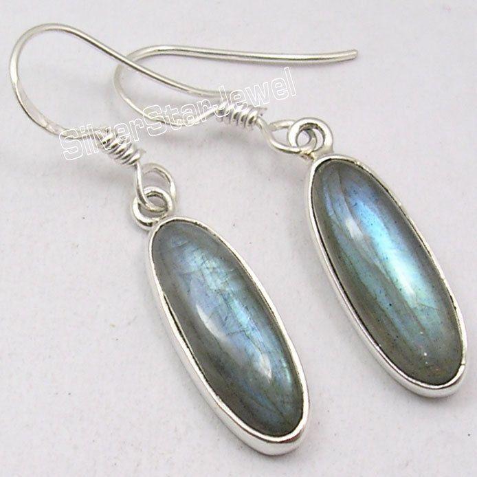 925 Silver LABRADORITE PRETTY NEW Dangle Earrings 3.7CM #Dangle