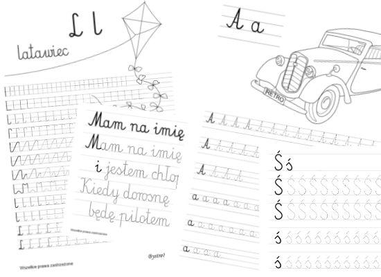 Nauka Pisania Dla Dzieci Szablony Z Dużą Czcionką Education