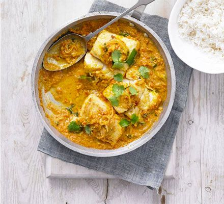 Use a sustainable white fish like pollack in this southern Indian-style coconut and tomato curry with fresh coriander