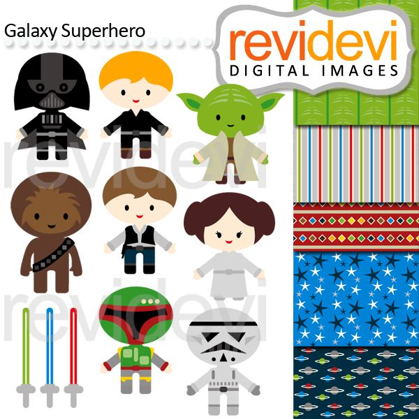 Galaxy Superhero - Cliparts and papers for crafts, invitations and more.