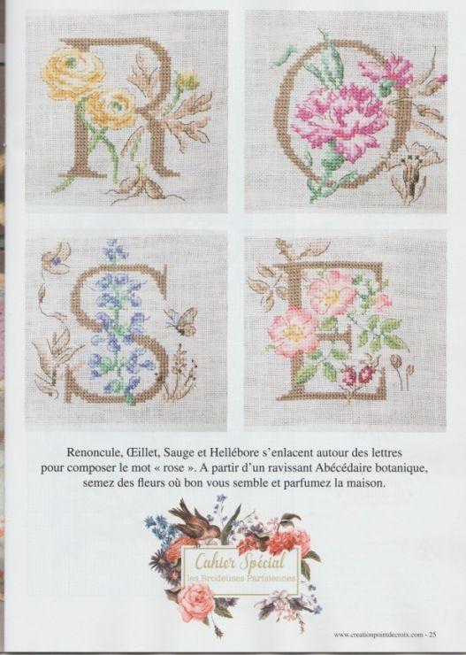 Les Brodeuses Parisiennes ''Le grand ABC «Botanique»'' Creation Point De Croix 57 ROSE