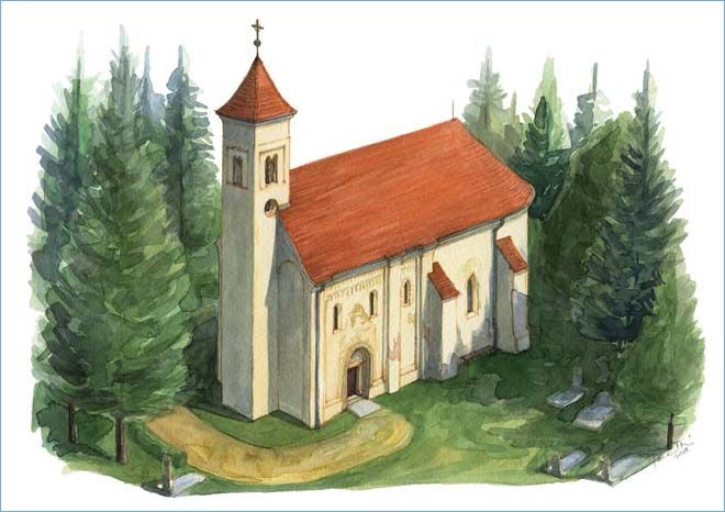 Az őriszentpéteri Árpád-kori templom.