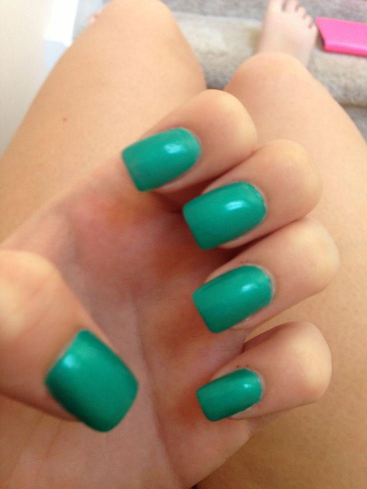 simple teal squared acrylic nails | Nail Inspiration ...