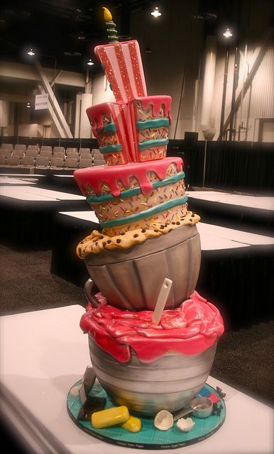 Baking-themed topsy turvey cake by Gimme Some Sugar (vegas!), via Flickr