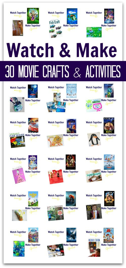 Huge list of family movie night movies and crafts or activities to do after watching the film!