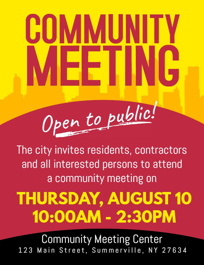 community town hall meeting announcement flyer  poster