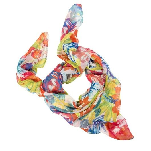 Pañuelo multicolor con estampado de flores. Añade luz a tus looks más sencillos.