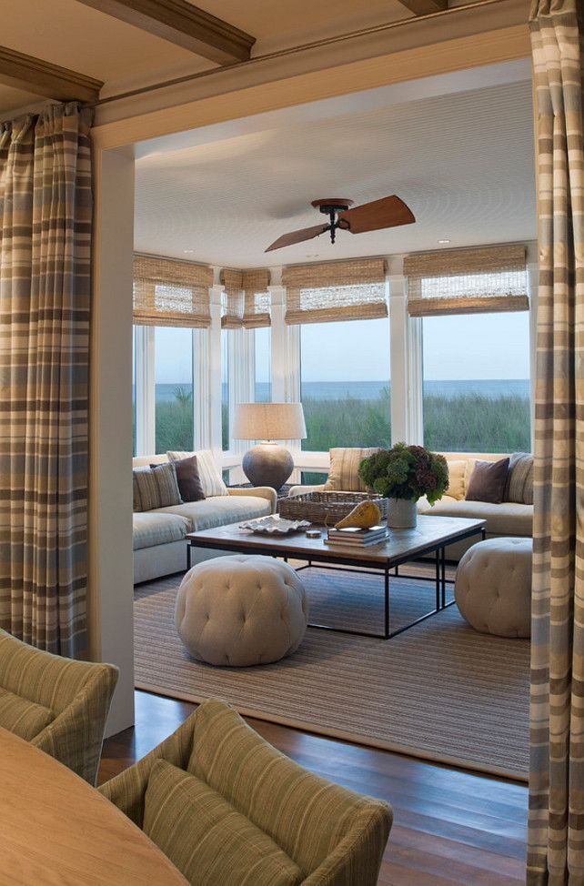 Woven Woods Shades with Rod Pocket Drapes