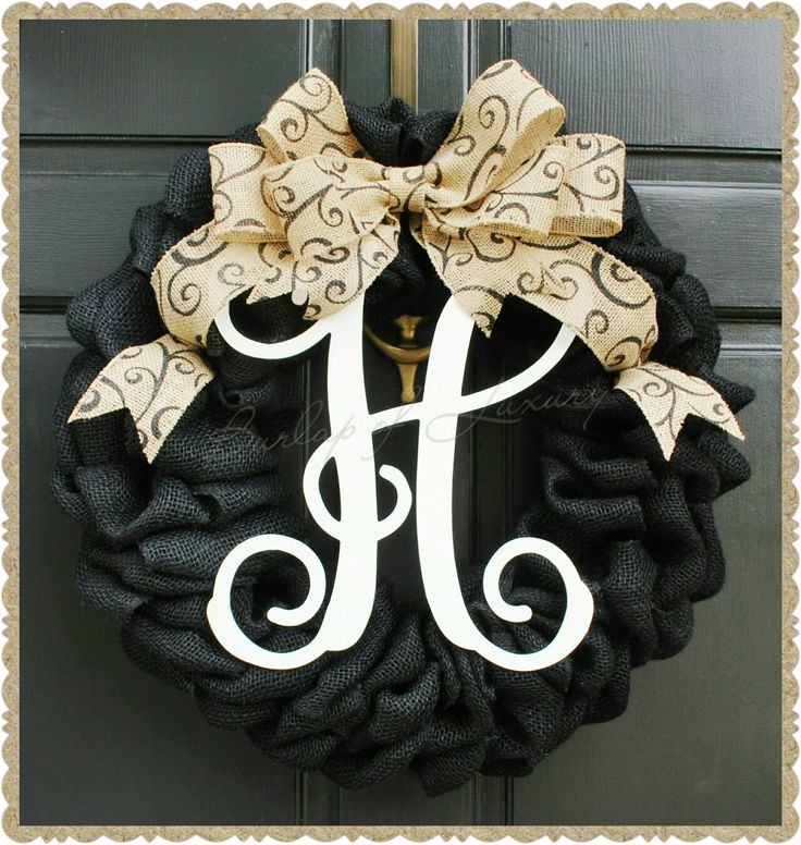 "21"" Black Burlap Wreath with Vine Monogram and Large Scroll Burlap Bow."