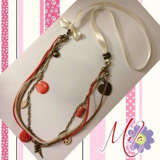 C004 ☆☆☆ Me aTrevÍ con un nuevo ColLar ☆☆☆ ... El CORAL uno de los colores con mas tendencia para el verano. Piedras naturales, nácar, coral, raso, seda, cuero y bronce. ¿Os gusta?