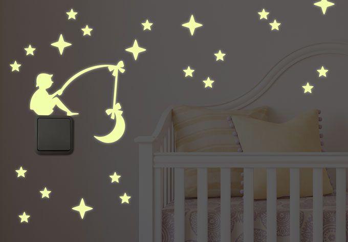 Wandtattoo Leuchtsterne Lichtschaltersticker Himmelsangler von wall-art.de
