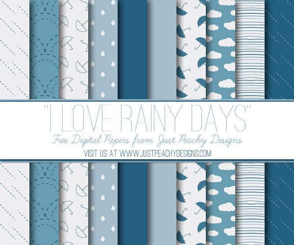 I have a new set of free digital paper for you!  This set of 12x12 inch papers has a rain theme and features clouds, umbrellas and raind...