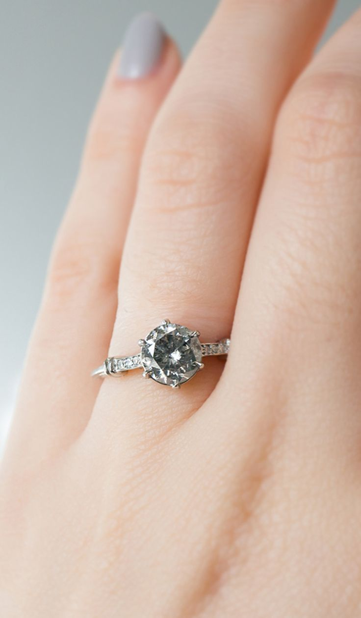 Art Deco Inspired Platinum Engagement Ring With A Fancy Grey Diamond With  Salt