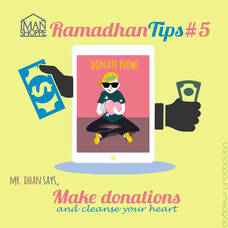"""Iman Shoppe Ramadhan Tips #5   Mr.Dhan says,   """"Make donations & cleanse your heart ❤""""   """"Barangsiapa memberi makan pada orang yang berpuasa maka baginya pahala seperti pahala orang yang berpuasa itu tanpa mengurangi sedikit pun dari pahalanya.""""  (HR. Ahmad dan At Tirmidzi)   #RamadhanMilikKita #RamadhanTips"""