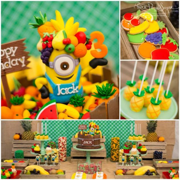 Boy's Minion Themed Birthday Party Dessert Table Idea