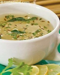 Moong soup, subtly flavoured with curry leaves and lemon juice, this moong soup is easily digestible and high on energy. Carrots and paneer increase the protein and vitamin a content making this soup a great starter to meals.