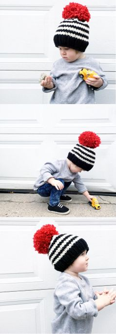 knit baby hat, toddler winter beanie, large pompom beanie, toddler boy style, oversized pompom hat, winter, fall, handknit, toddler outfit