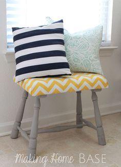 Upholstered Foot Stool Tutorial: Hello Pretty Yellow Chevron