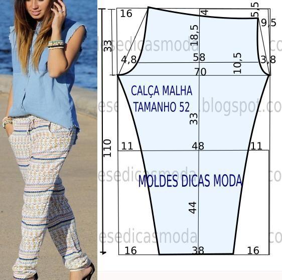 Se gosta de vestir um estilo menos formal e mais prático fica aqui o molde de calça descontraída no tamanho 52 na tabela Portuguesa e 54 na tabela do Brasil