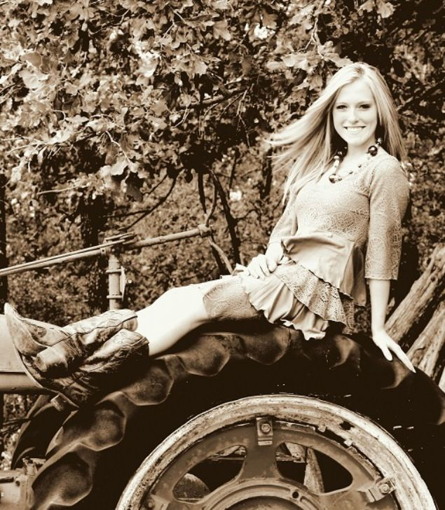 cowgirl senior pictures, Photo with tractor on the farm