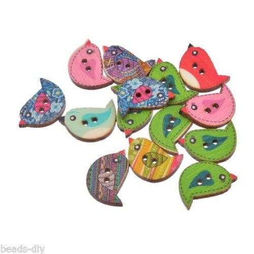 BD 30PCs Wood Buttons 2 Holes Cartoon Birds Sewing Scrapbooking 15x2