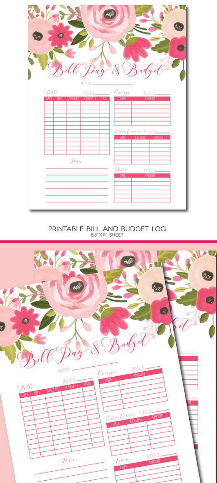 Paying bills and keeping track of your money doesn't have to be boring.  This beautiful instant download could actually making bill paying fun!  Printable Bill Pay Log, Bill Pay Tracker, Bill Tracker Log, Bill Pay Organizer, Budget Planner, Personal Finance Log, Bill Organizer #Ad #Moneymanagement #billtracker #printable