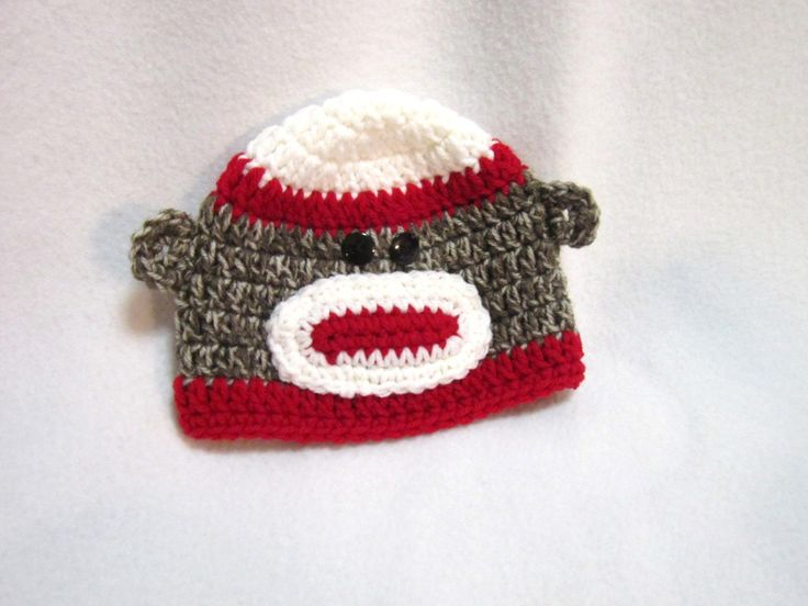 Sock Monkey Baby Hat, Crochet Red and White Sock Monkey Cap, MADE TO ORDER by Charlene, Baby Photo Prop, Simple Baby Hat by crochetedbycharlene on Etsy