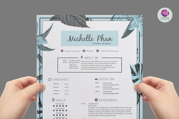 Chic , floral resume template by Chic templates on Creative Market