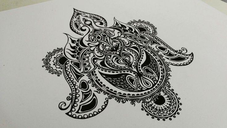 Dies ist meine 17. Zentangle Zeichnung. Ihr seht gut 2,5 Stunden, die im…