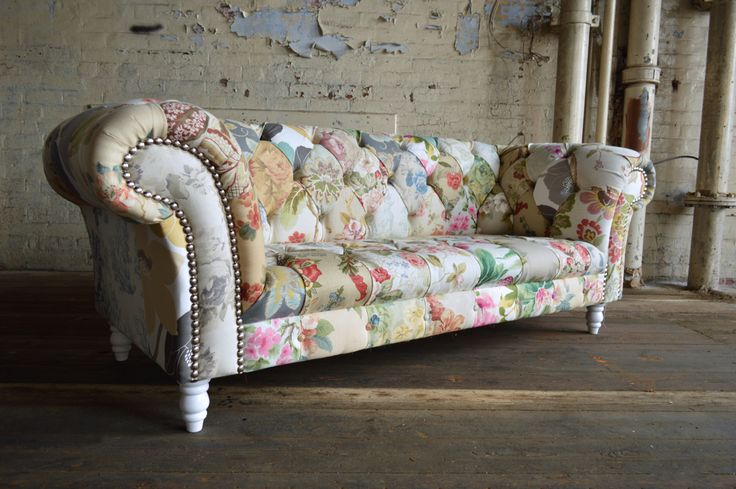Modern British and handmade shabby chic Patchwork Chesterfield Sofa. Totally unique fabric 3 seater, shown in floral chintz design. | Abode Sofas